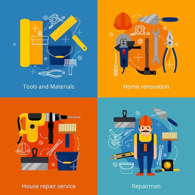 Servizio di riparazione e set di icone di ristrutturazione Vettore gratuito