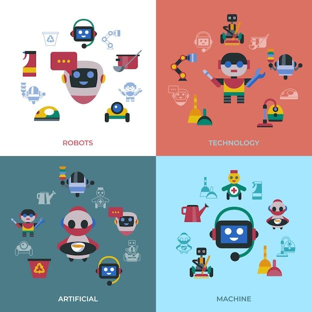Servizio e pulizia icone di robot domestici Vettore Premium