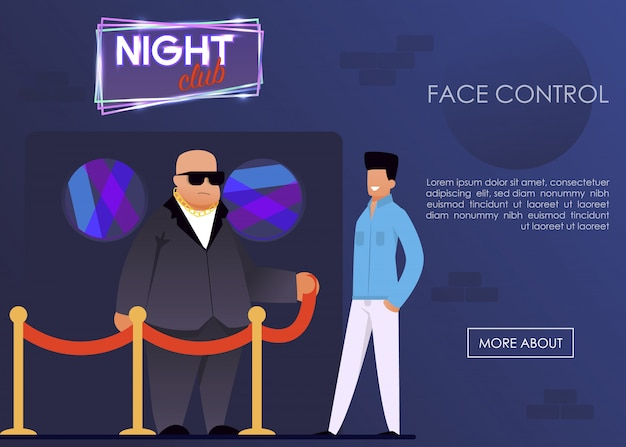 Servizio face control per la landing page del night club Vettore Premium