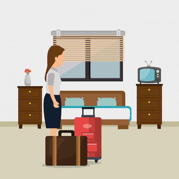 Servizio in camera donna che lavora in albergo Vettore gratuito