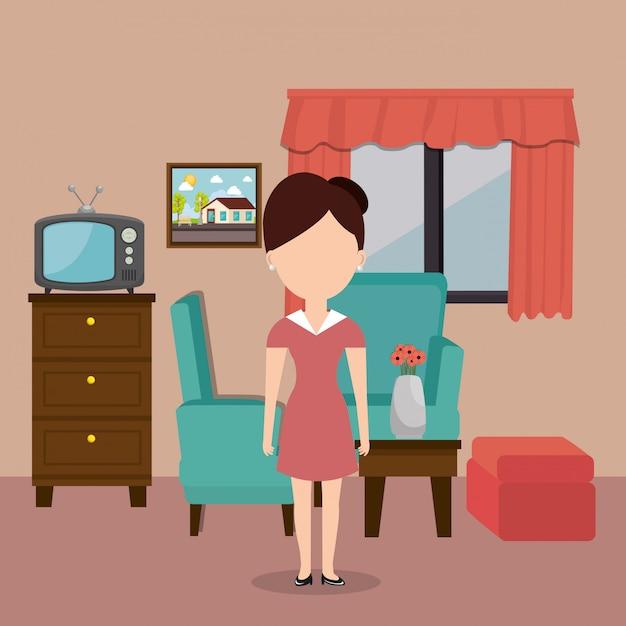 Servizio in camera donna che lavora in hotel Vettore gratuito