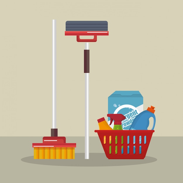 Servizio lavanderia set prodotti Vettore gratuito