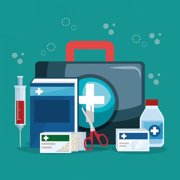 Servizio medico imposta icone Vettore gratuito