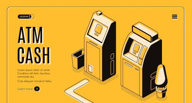 Servizio online di cambio valuta, banca banner web isometrica di localizzatore di rete automatizzata bancomat Vettore gratuito