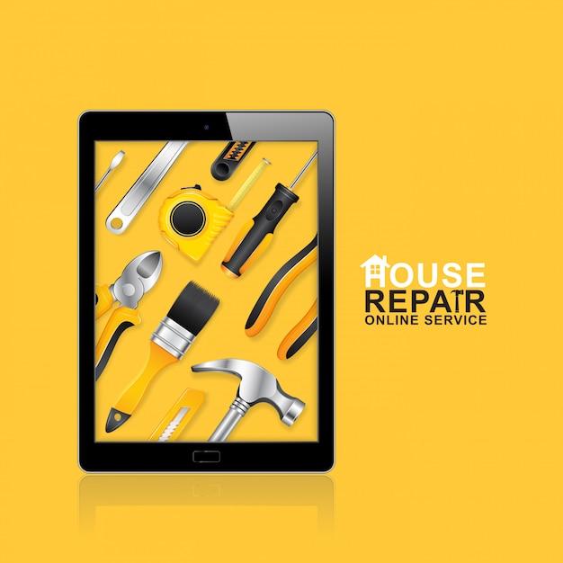 Servizio online di strumenti di costruzione Vettore Premium