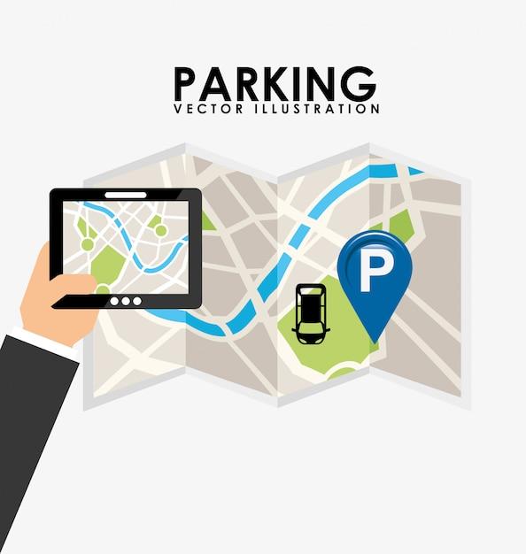 Servizio parcheggio, tablet e mappa cartacea Vettore gratuito