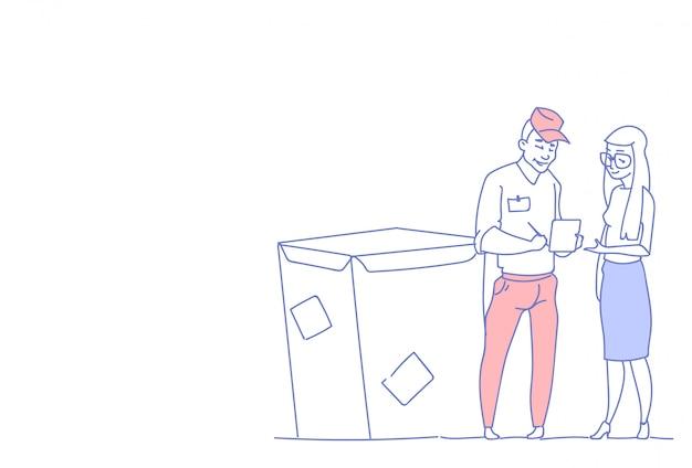 Servizio postale del pacchetto di consegna della scatola dell'uomo del corriere del documento del segno della donna di affari Vettore Premium