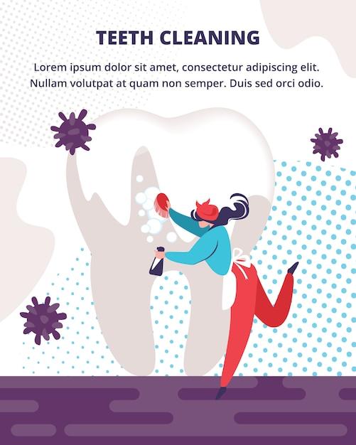 Servizio professionale di pulizia dei denti per cure odontoiatriche. Vettore Premium