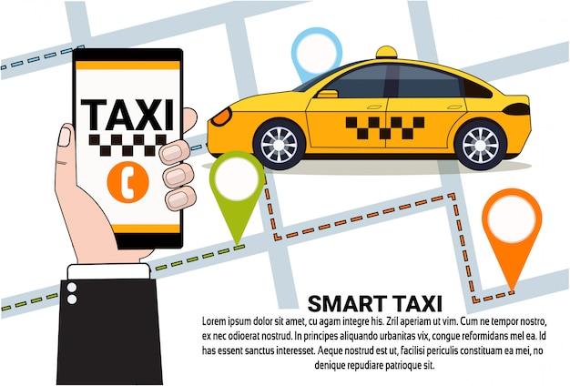 Servizio smart taxi di ordine di cabina online con app per smartphone Vettore Premium