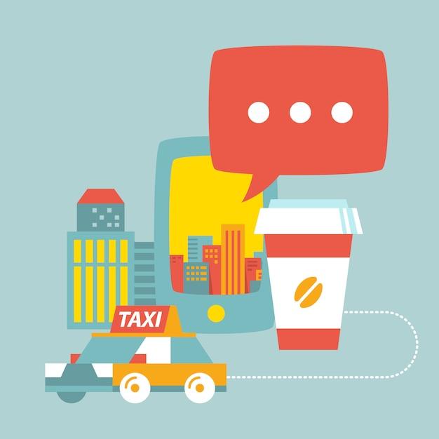 Servizio taxi, tazza di caffè, città e telefono Vettore Premium