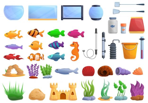 Set acquario, in stile cartone animato Vettore Premium