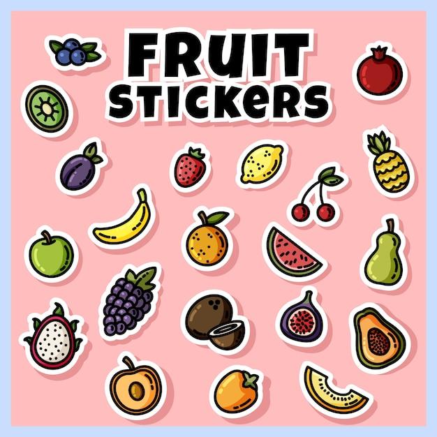 Set adesivi colorati di frutta. raccolta di icone piatte di frutta Vettore Premium