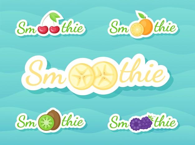 Set adesivi drink frullato di bacche e frutta Vettore Premium