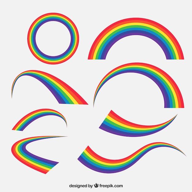 Set arcobaleno colorato Vettore gratuito
