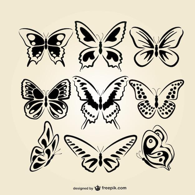 Set arte linea farfalle Vettore gratuito