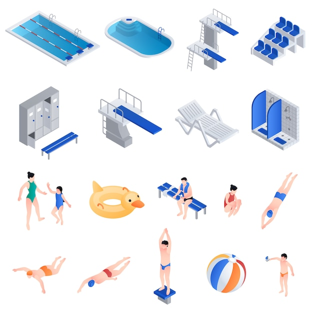 Set attrezzatura da piscina, stile isometrico Vettore Premium