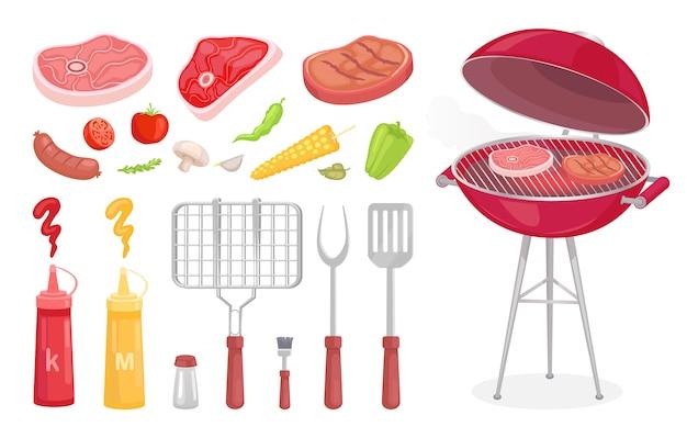 Set barbecue, attrezzatura per barbecue e carne Vettore Premium