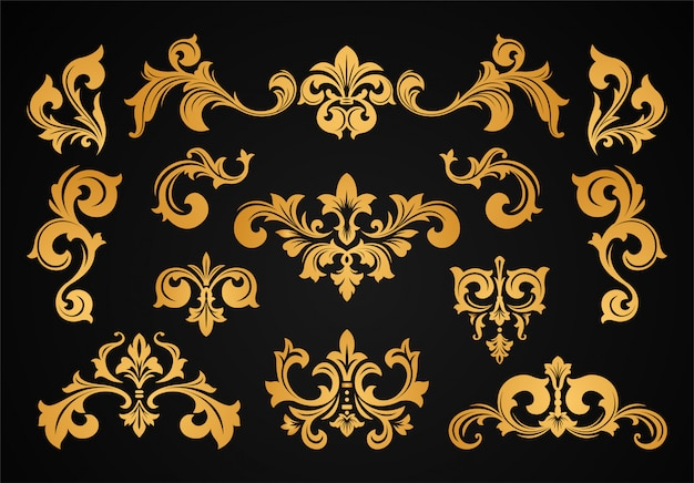 Set bordo cornice vittoriana barocca vintage Vettore Premium