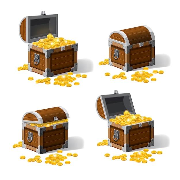Set casse tronco piratic con tesori monete d'oro. Vettore Premium