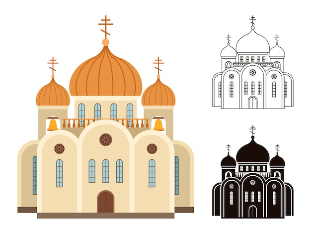 Set chiesa cristiana Vettore Premium