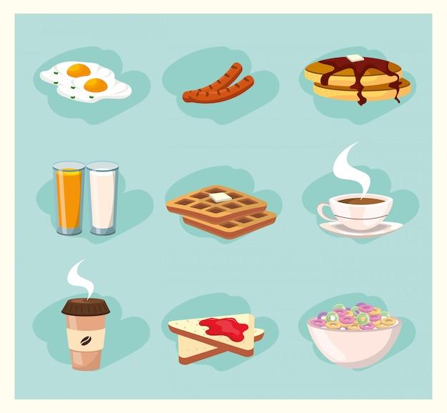 Set cibo delizioso colazione nutrizione Vettore Premium