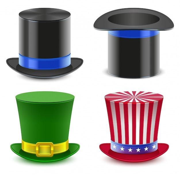 Set cilindro cappello da mago Vettore Premium