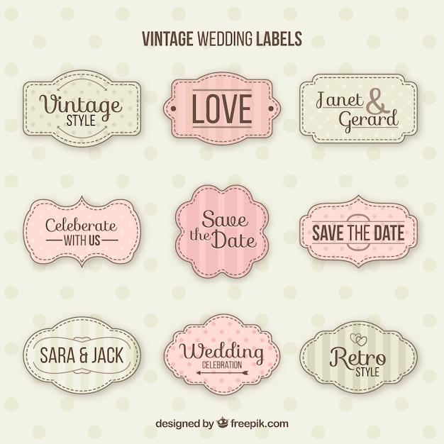 Set classico di distintivi di matrimonio vintage Vettore gratuito