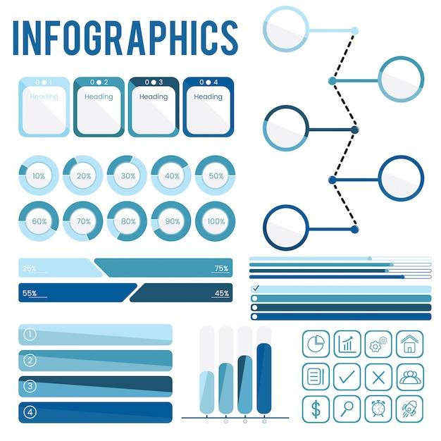 Set collection of blue infographics Vettore gratuito
