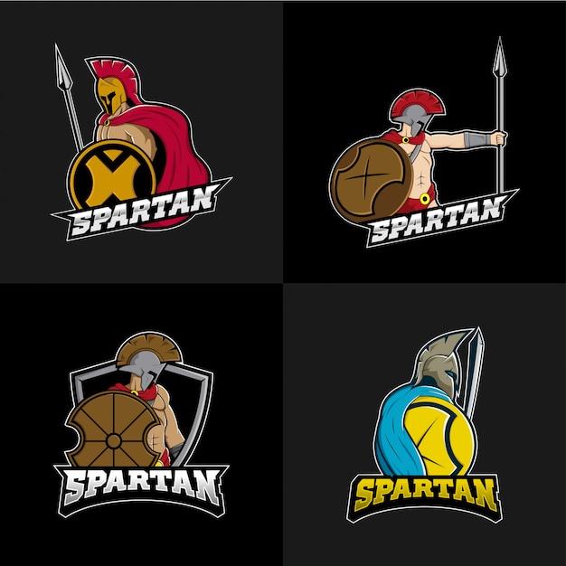 Set collezione spartan esports logo Vettore Premium