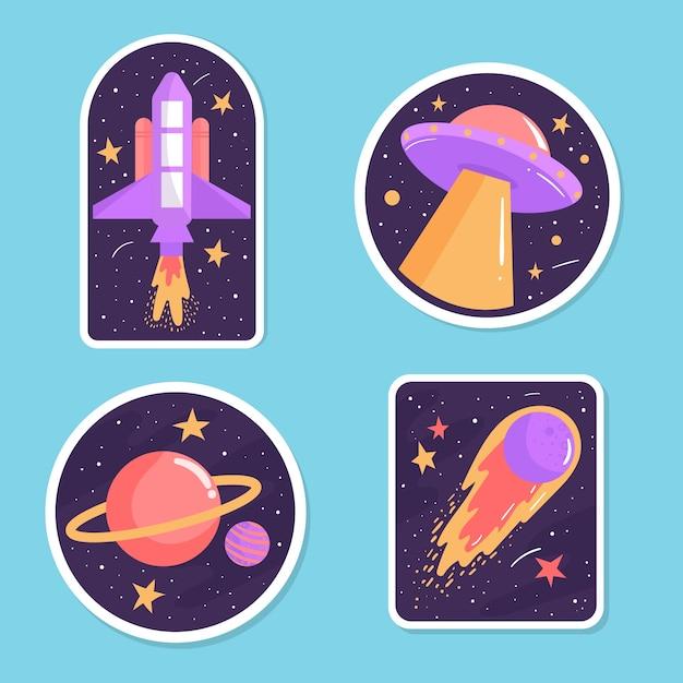 Set colorato di adesivi spaziali Vettore gratuito