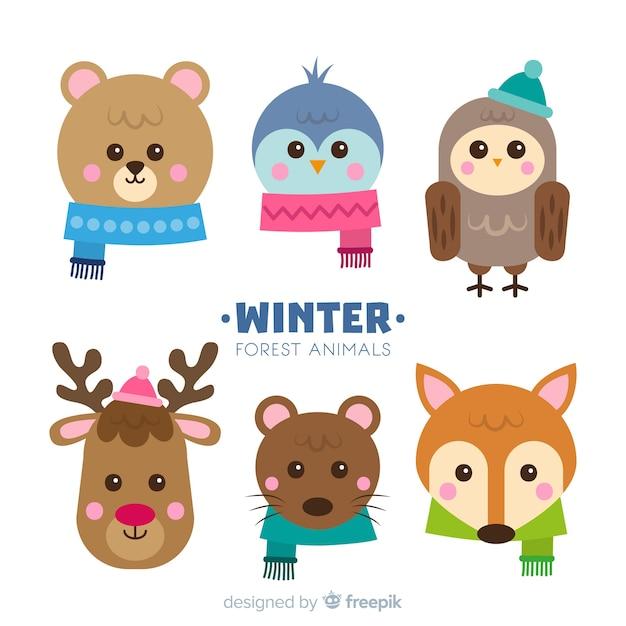 Set colorato di adorabili animali invernali Vettore gratuito