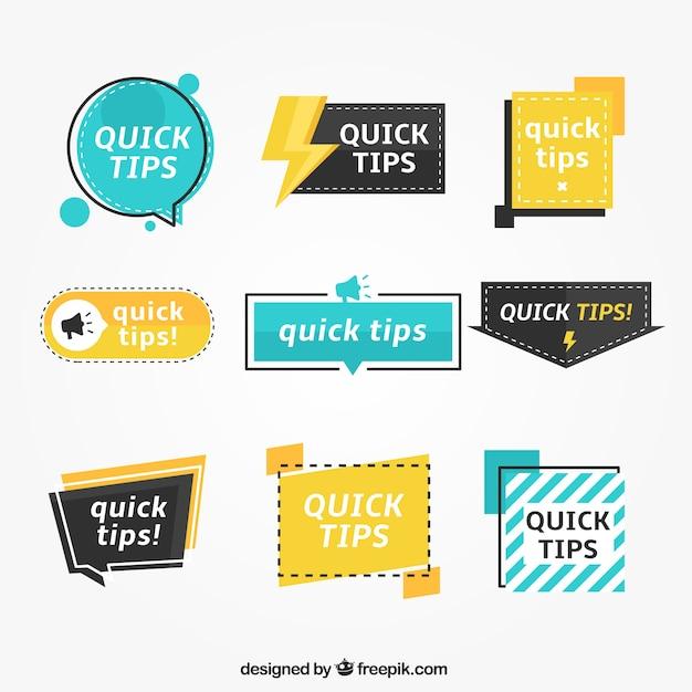 Set colorato di etichette tip con design piatto Vettore gratuito