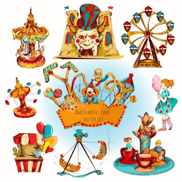 Set colorato parco divertimenti Vettore gratuito