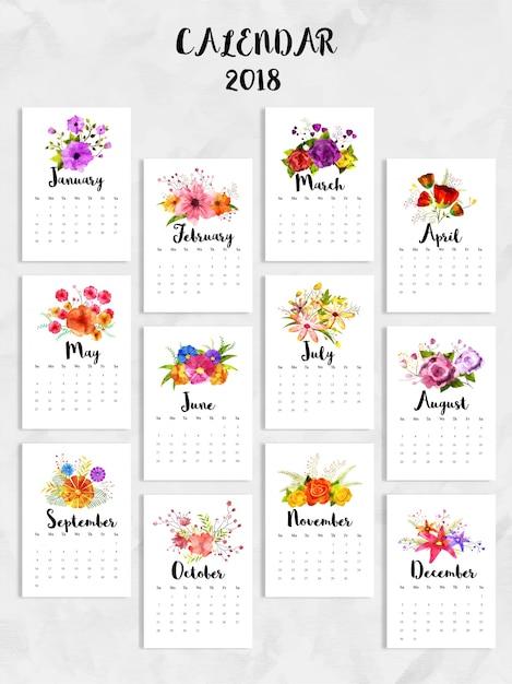Calendario 12 Mesi.Set Completo Di 12 Mesi Calendario 2018 Scaricare