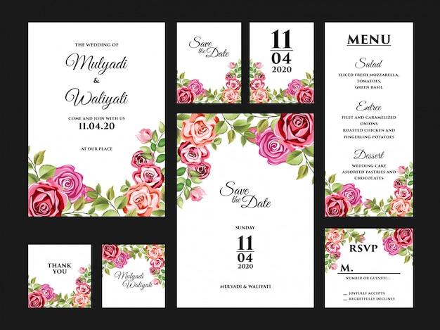 Set completo di modelli di carta floreale invito matrimonio completo Vettore Premium