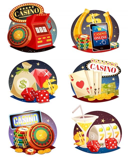 Set composizioni decorative di casinò Vettore gratuito