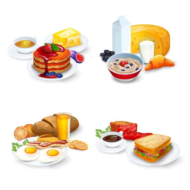 Set composizioni per la colazione Vettore gratuito