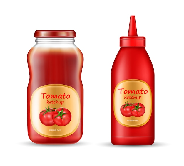 Set con due bottiglie di ketchup, vasetti di plastica e vetro con coperchi e etichette chiuse Vettore gratuito