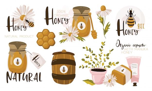 Set con elementi di miele. Vettore Premium