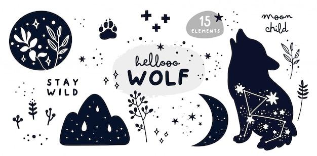 Set con lupo, stelle, luna, erbe e scritte. resta raccolta bambino luna selvaggia Vettore Premium