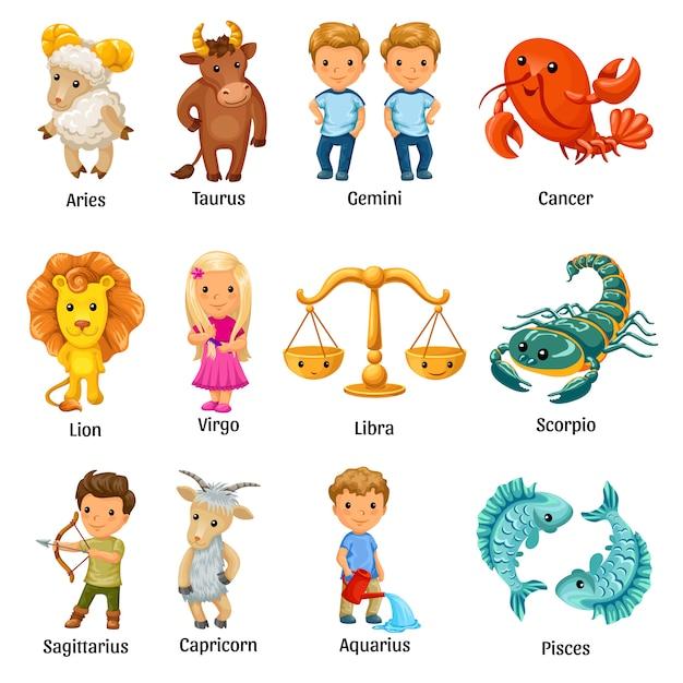 Set con segni zodiacali dei cartoni animati. Vettore gratuito