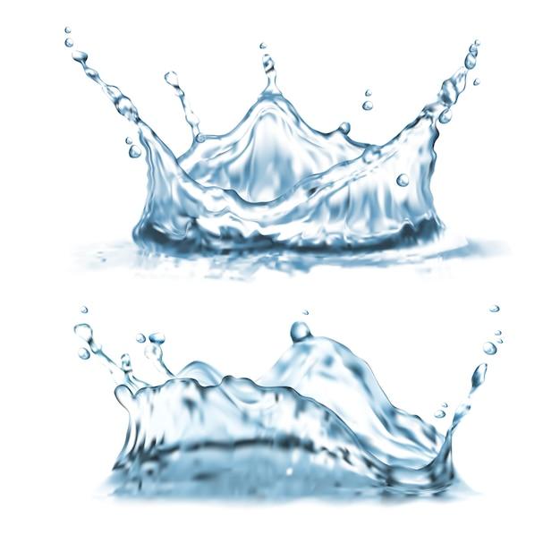 Set con spruzzi d'acqua, forme astratte con goccioline, corona splatter Vettore gratuito