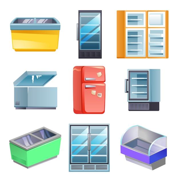 Set congelatore, stile cartoon Vettore Premium