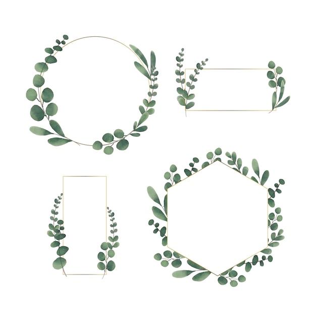 Set cornice floreale dell'acquerello Vettore gratuito