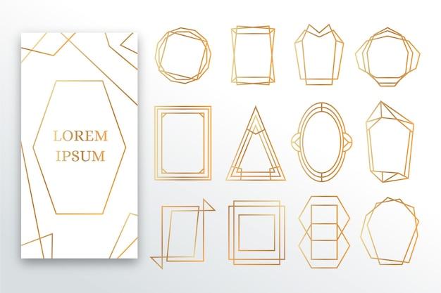 Set cornice poligonale dorata Vettore gratuito