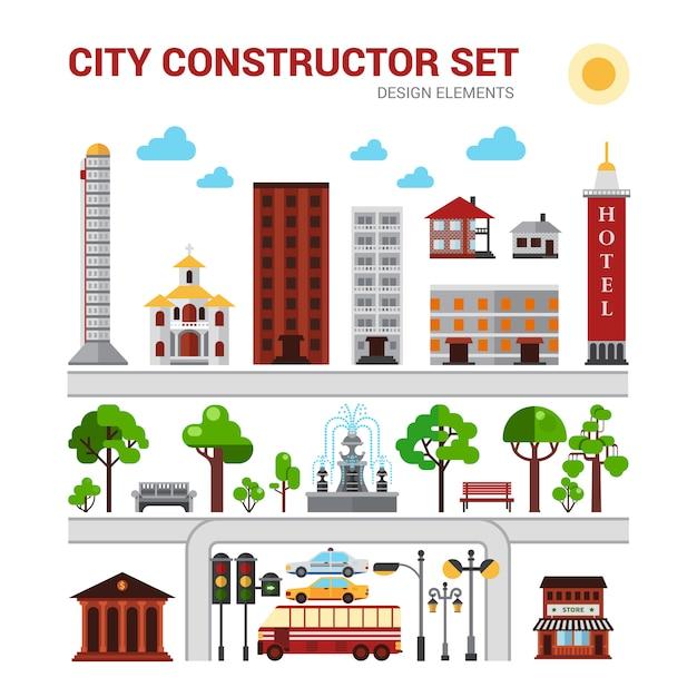 Set costruttore di città Vettore gratuito