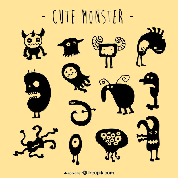Set creature mostruose vettore Vettore gratuito