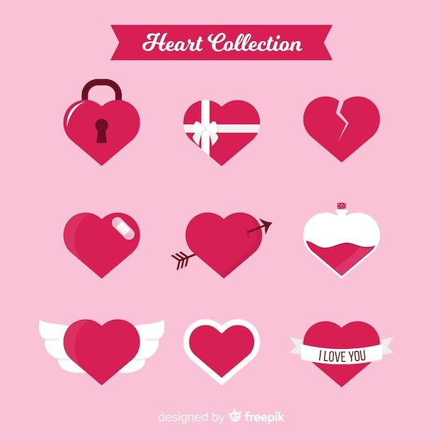 Set cuore piatto Vettore gratuito