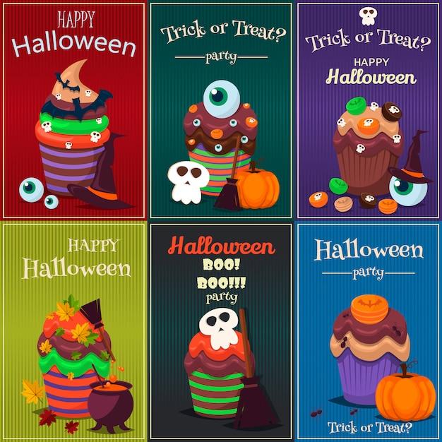 Set cupcake. manifesto di dolci spaventosi di halloween felice. Vettore Premium