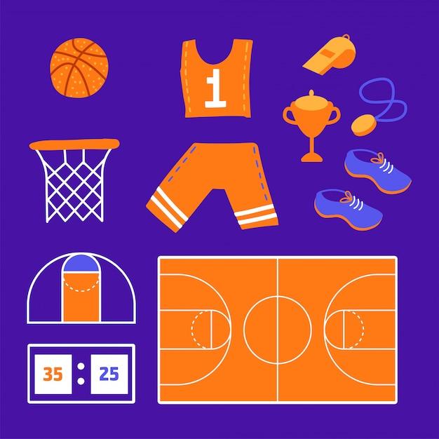 Set da basket. elementi relativi allo sport piatto - palla, abbigliamento sportivo, scarpe sportive, coppa del vincitore Vettore Premium